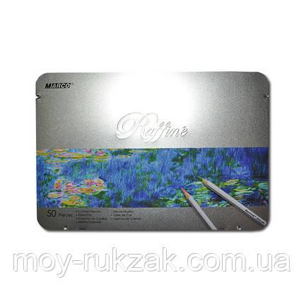 Карандаши цветные 50 цветтов MARCO 7100-50TN Raffine металлизированные, металлическая упаковка, фото 2