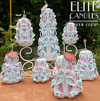 Большой набор резных свечей ручной работы, на свадьбу или подарок сотрудникам