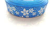 Лента атласная Синяя с цветами 2.5 см 1 м