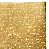 """Подарочная бумага ретро """"Письмо""""(148) белое на крафте"""