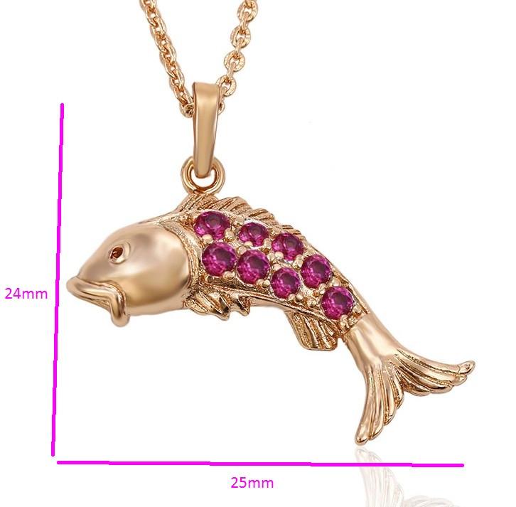 Кулон позолоченный, Золотая Рыбка, с рубиновым цирконием