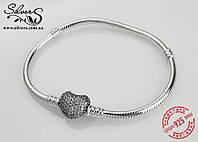 Серебряный браслет Пандора с застежкой в виде сердца  0617