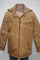 Стильная демисезонная мужская куртка с капюшоном желтая