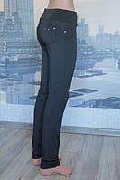 Теплые  женские лосины на байке с карманами черный цвет
