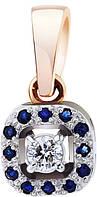 Кулон золотой с бриллиантами и сапфирами