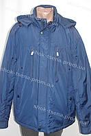 Демисезонная мужская куртка с капюшоном батал синяя
