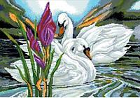 Канва для вышивки крестиком Лебеди