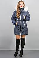 Зимняя куртка Дорри (синяя белый мех,белая отстрочка)(р.44-54)