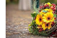 """""""Осеннее дыхание""""гербера,статице,ягоды,зелень каркас."""