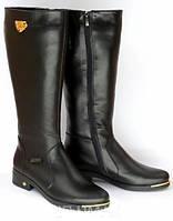 Кожаные сапоги на низком  широком каблуке