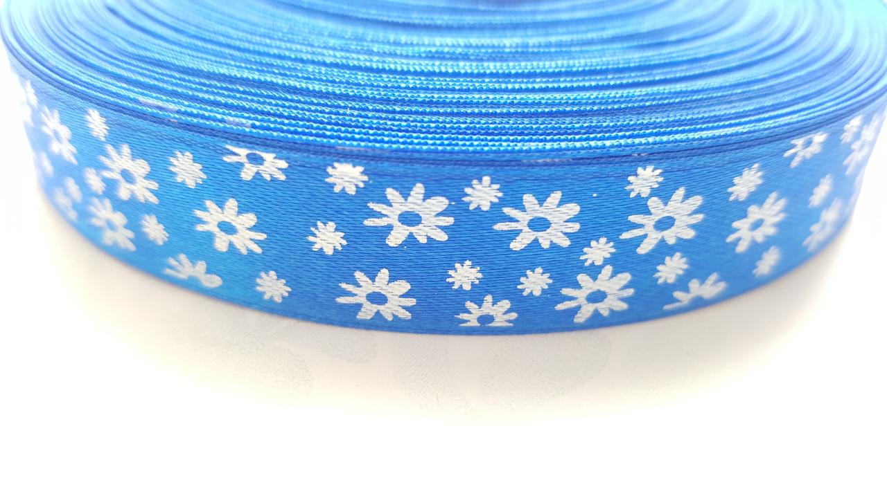 Лента атласная Синяя с ромашками 1.5 см 1 м, фото 1