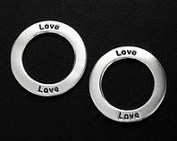 Коннектор разделитель Love серебро п.925