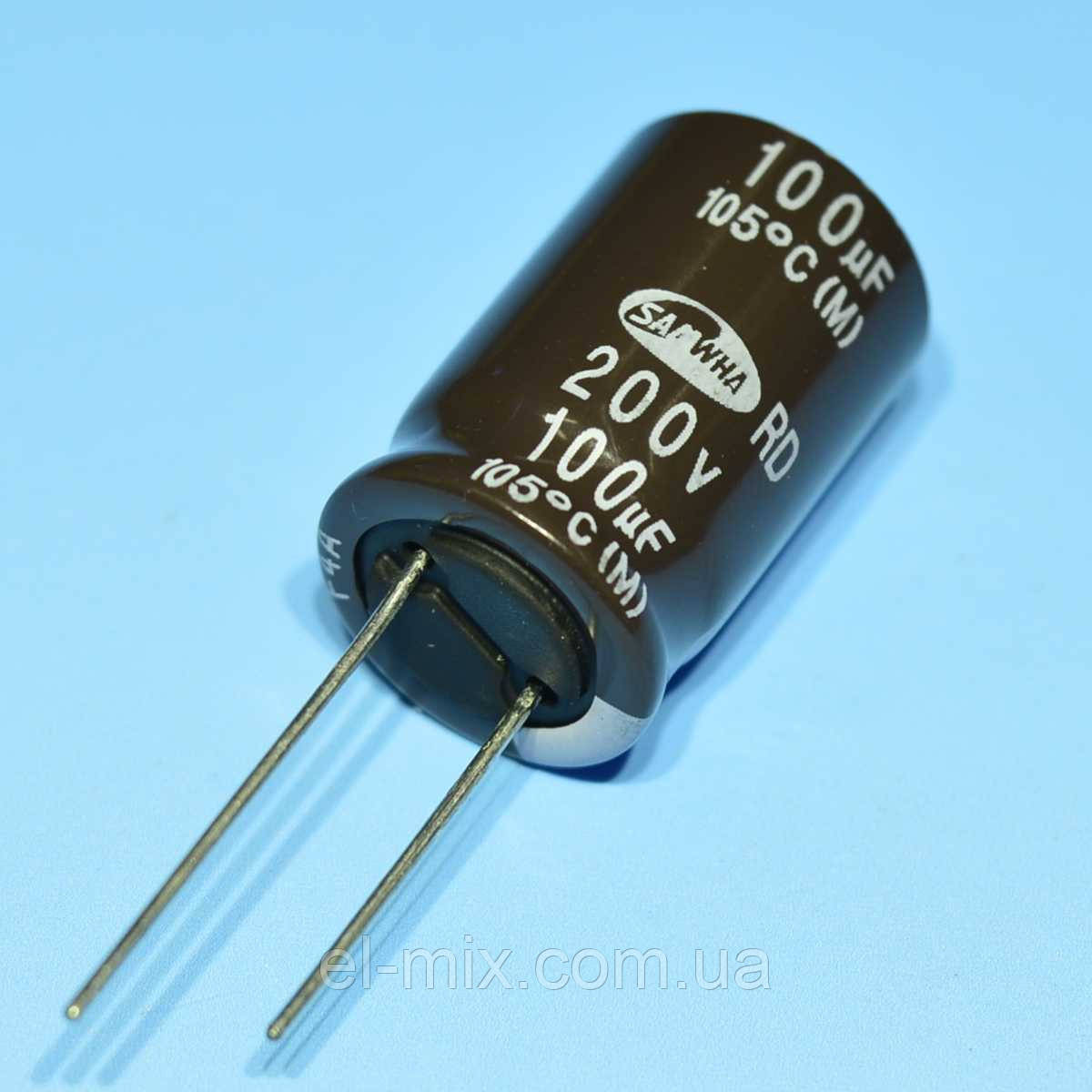Конденсатор электролитический   100мкФ 200В Samwha 105*С RD 16*25