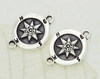 Коннектор разделитель компас, черненное серебро п.925