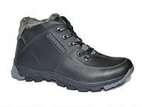 Зимнии кожаные ботинки на шнуруах и молнии