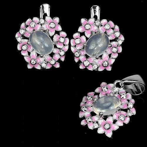 Комплект серьги и кулон с розовым кварцем и ювелирной эмалью