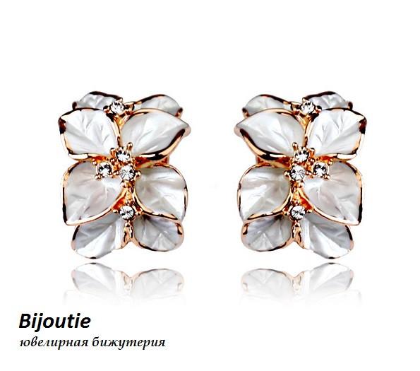 Серьги ТЕЯ ювелирная бижутерия золото 18к декор кристаллы Swarovski