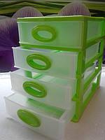 Мини комод на 4 ящика зеленый