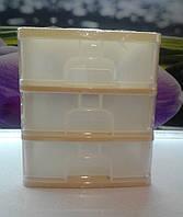 Мини комод пластиковый бежевый на 3 яруса , фото 1