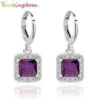 """Серьги классические в серебре с кристаллами Swarovski и камнем """"Фиолетовый квадрат"""""""