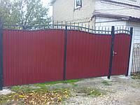 Кованные ворота из профнастила в Запорожье