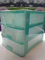 Мини комод пластиковый зеленый на 3 яруса