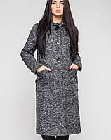 Зимнее женское меланжевое пальто с капюшоном (Рио зима leo)