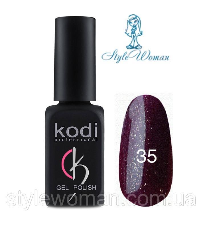Kodi professional гель лак Коди 35 темно бордовый с блеском 8мл