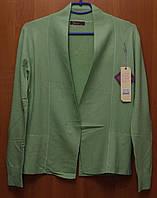 Кардиган женский с гипюром зеленый норма