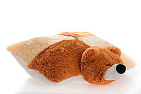 Подушка-игрушка Мишка 55 см  коричневый и персиковый №1,ПМ9-12 (плюшевый мишка)