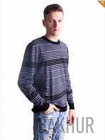 Джемпер мужской в полоску черный+серый - 3080