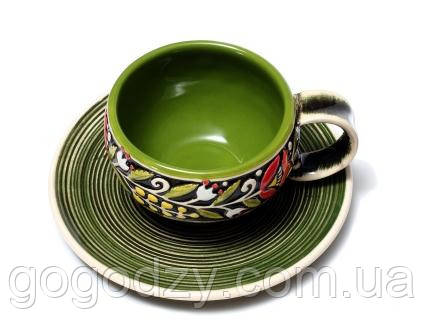 """Горнятко кавове """"Вінок"""" зелене з блюдцем"""