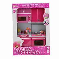 Мебель для куклы кухня, микроволновка, плита, шкаф, батар., свет, звук