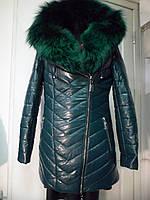 Куртка из эко-кожи на верблюжьей шерсти на капюшоне мех из енота 42р-44р