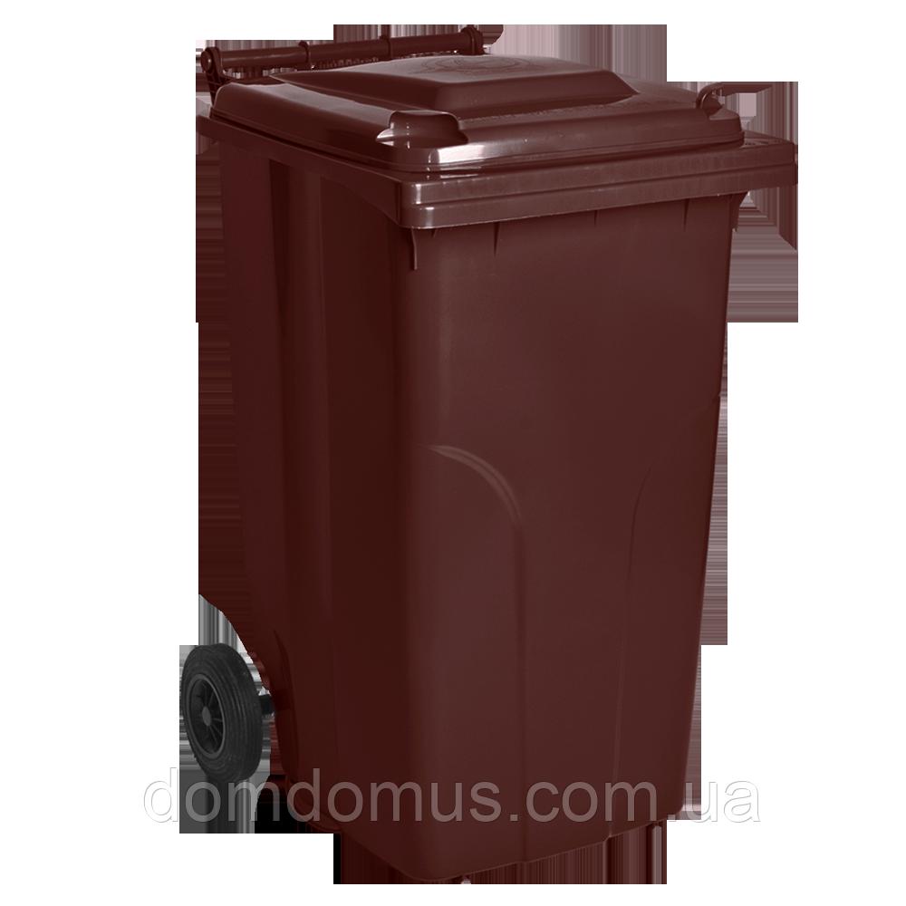 Бак для мусора на колесах 240 л Алеана, коричневый