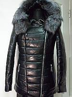 Куртка из эко-кожи на верблюжьей шерсти с капюшоном длина 65 см           с мехом чернобурки  42р 44р 46р 48р