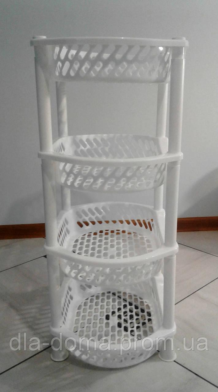 Этажерка пластиковая овальная белая