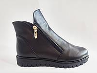 Кожаные женские зимние стильные черные ботинки на платформе 36 Amina Gold