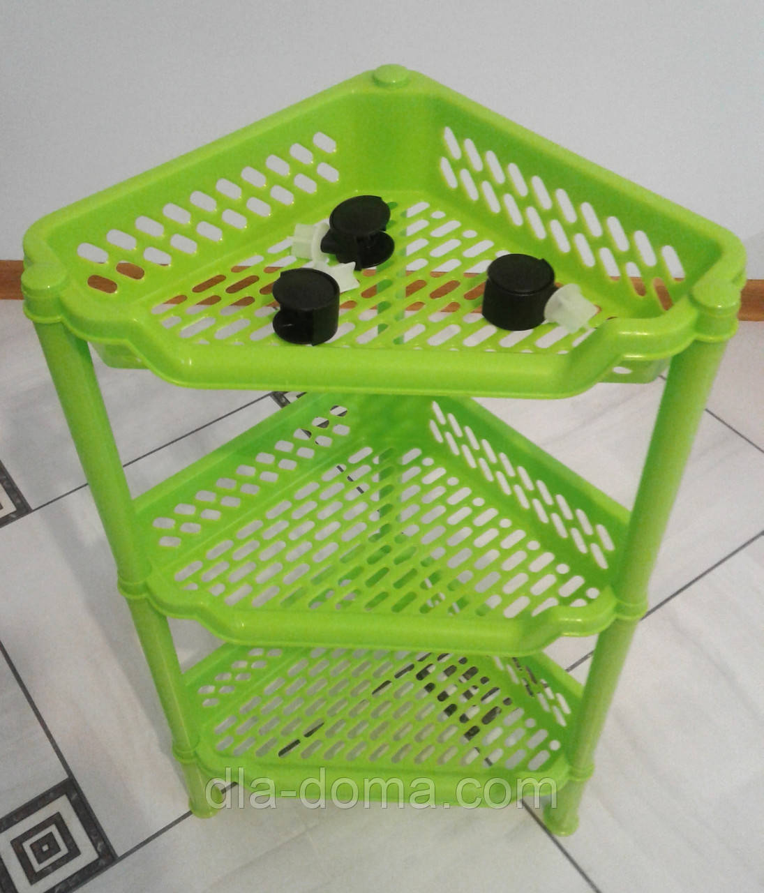 Этажерка пластиковая угловая салатовая