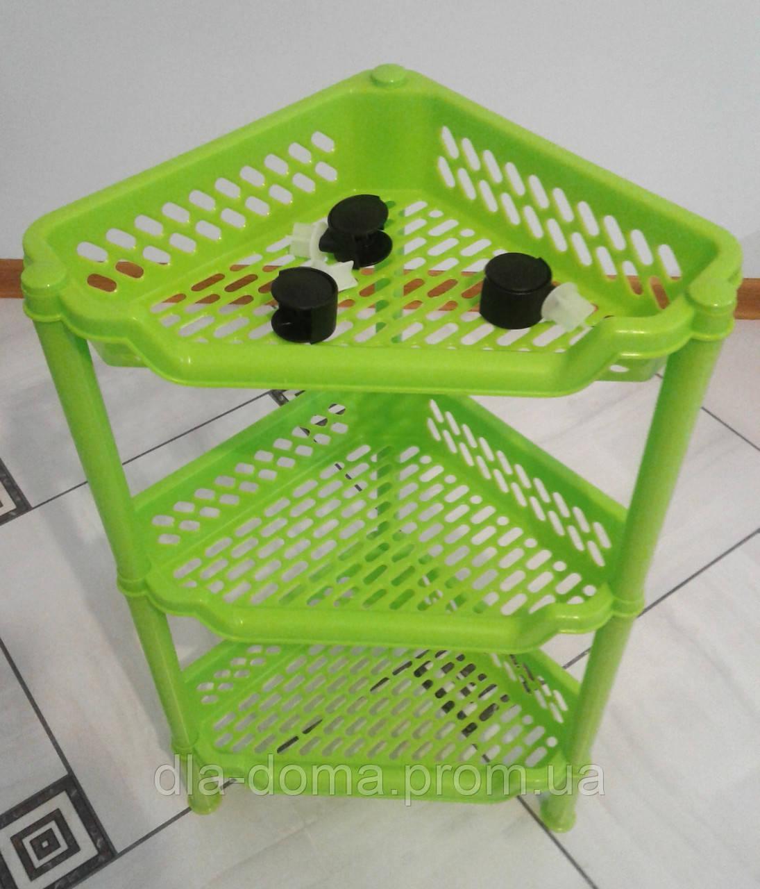 Этажерка пластиковая угловая салатовая, фото 1