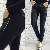Штаны женские с карманами на флисе - Черный