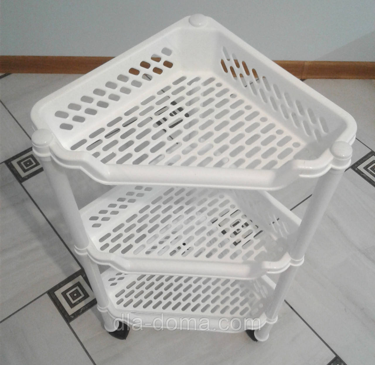 Этажерка пластиковая угловая белая