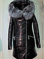 Куртка из эко-кожи на верблюжьей шерсти с капюшоном длина 85см с мехом чернобурки  48р-50р