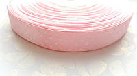 Атласная лента Розовая в горошек 1.5 см 1 м