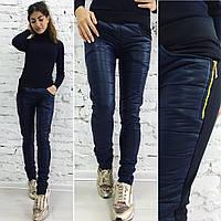 Штаны женские с карманами на флисе - Темно-синий
