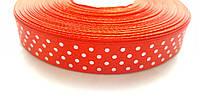 Атласная лента Красная в горошек 1.5 см 1 м