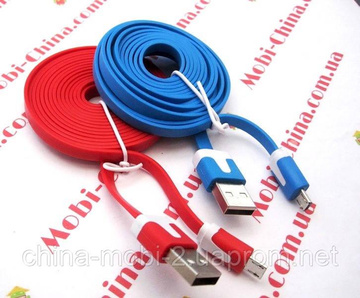 Кабель USB 2.0 microUSB, плоский - 2 метри new
