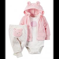 Костюм Carters махровый розовый Мишка, Размер NB, Размер 9м