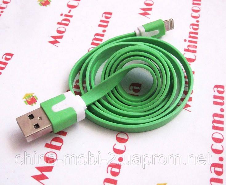 USB - кабель для iPhone 5 6, плоский - 1 метр