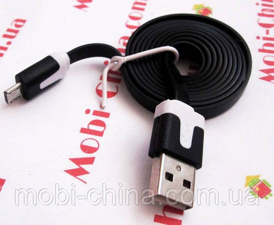 Кабель USB 2.0 - microUSB, плоский силикон - 1 метр  flat V8 0044 , фото 2